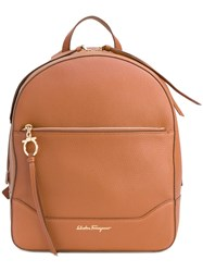 Salvatore Ferragamo Samy Backpack Women Leather Polyester One Size Nude Neutrals