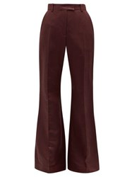Joseph Tana High Rise Flared Linen Blend Trousers Burgundy