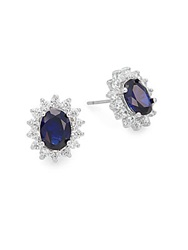 Cz By Kenneth Jay Lane Royal Classic Stud Earrings Blue