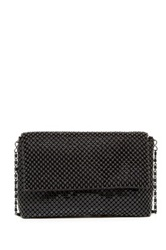 Magid Metal Mesh And Bead Flap Shoulder Bag Black