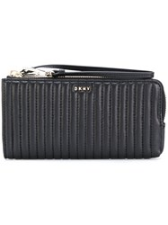 Dkny Quilted Pinstripe Wallet Women Leather One Size Black