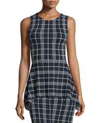 Theory Kalora Lustrate Plaid Peplum Top Navy Multi