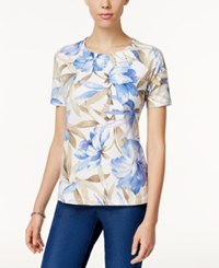 Alfred Dunner Floral Print Short Sleeve Top