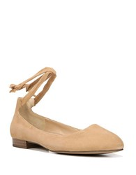 Franco Sarto Becca Ankle Wrapped Leather Ballet Flats Camel