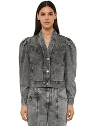 Etoile Isabel Marant Hacene Cropped Cotton Denim Jacket Grey