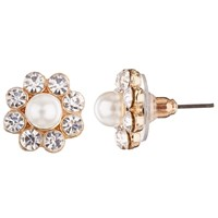 John Lewis Faux Pearl And Cubic Zirconia Cluster Stud Earrings Gold White