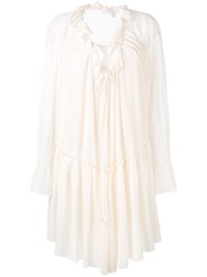 See By Chloe Bohemian Ruffled Dress Women Cotton Polyester L Nude Neutrals