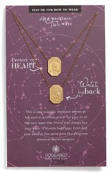 Dogeared Women's Protect My Heart Watch My Back Scapular Two Way Necklace Gold