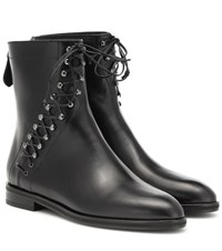Alaia Leather Ankle Boots Black
