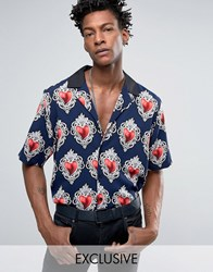 Reclaimed Vintage Inspired X Romeo And Juliet Revere Reg Fit Shirt In Navy Navy