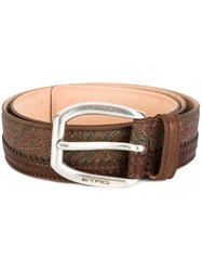 Etro Paisley Print Belt Brown