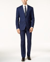 Vince Camuto Slim Fit Blue And Burgundy Tonal Windowpane Suit