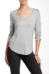 Fate Scoop Neck Long Sleeve Tee Gray