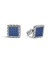 John Hardy Classic Chain Sterling Silver Enamel Square Cufflinks With Transparent Blue Enamel Blue Silver
