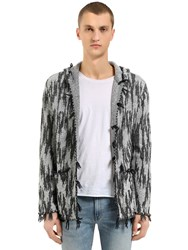 Saint Laurent Hooded Linen And Wool Jacquard Cardigan Grey