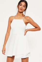 Missguided White Square Neck Open Back Skater Dress