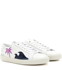 Saint Laurent Court Classic Sl 06 Sea Sex And Sun Embellished Leather Sneakers White