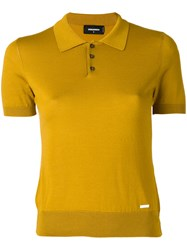 Dsquared2 Knitted Polo Shirt Women Silk Cotton S Yellow Orange