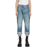 R 13 R13 Blue Cross Over Jeans