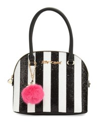 Betsey Johnson Candy Cane Striped Dome Satchel Bag Black White