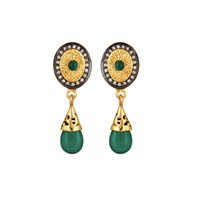 Carousel Jewels Intricate Green Onyx And Crystal Drops Gold Green