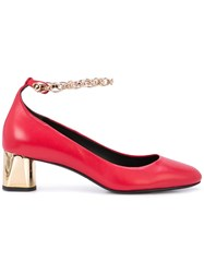 Stella Luna Chain Strap Pumps Red