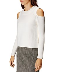 Karen Millen Chunky Cold Shoulder Sweater Ivory