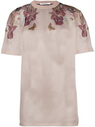 Givenchy Floral Print Sheer T Shirt Pink Purple
