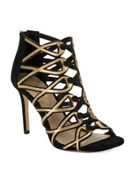 424 Fifth Gizelle Suede Cage Heels Black Gold
