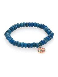 Sydney Evan Chrysocolla Multicolor Sapphire And 14K Yellow Gold Beaded Peace Sign Bracelet Blue Sapphire