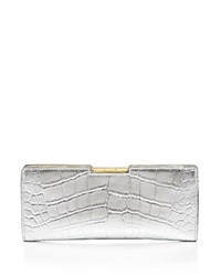 Milly Clutch Isabella Croc Embossed Frame Metallic Silver