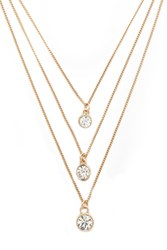 Forever 21 Rhinestone Layered Chain Necklace Gold Clear