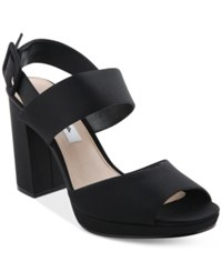 Nina Athena Slingback Block Heel Platform Evening Sandals Women's Shoes Black
