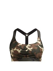 The Upside Alex Camouflage Print Sports Bra Green Multi