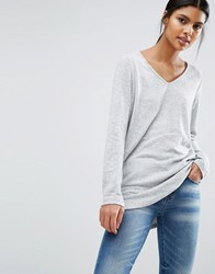 Vila Long Knit Jumper Light Grey Marl