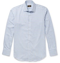 Emma Willis Slim Fit Gingham Brushed Cotton Shirt Blue