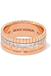 Boucheron Quatre Radiant Edition Small 18 Karat Rose And White Gold Diamond Ring Rose Gold