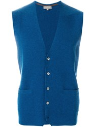 N.Peal Classic Buttoned Waistcoat Blue