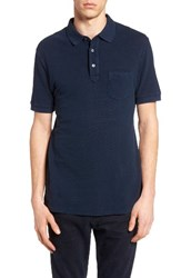 French Connection Men's Slub Knit Polo Marine Blue