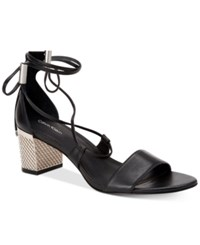 Calvin Klein Women's Natania Lace Up Block Heel Sandals Women's Shoes Black