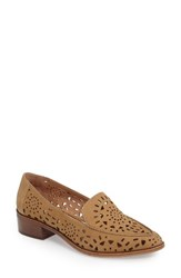 Linea Paolo Women's Babe Perforated Loafer Camel Nubuck Leather