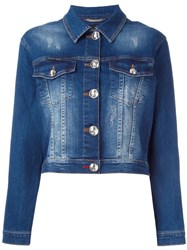 Philipp Plein Crystal Embellished Denim Jacket Blue