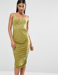 Club L Wrap Front Midi Dress With Cowl Back Green Moss