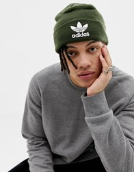 Adidas Originals Trefoil Logo Beanie In Green Dh4298