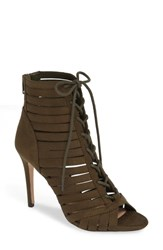 Bcbgmaxazria Bcbg Julie Lace Up Open Toe Bootie Olive Suede