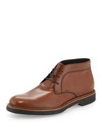 Salvatore Ferragamo Malik Leather Chukka Boot Brown
