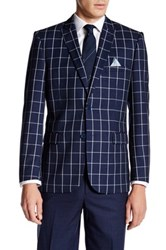 Nicole Miller Blue White Window Pane Two Button Notch Lapel Sport Coat