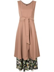 Loveless Layered Midi Dress Brown
