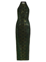 Balmain Crystal Embellished Halterneck Dress Black Green