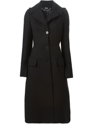 Alexander Mcqueen Military Single Breasted Coat Black